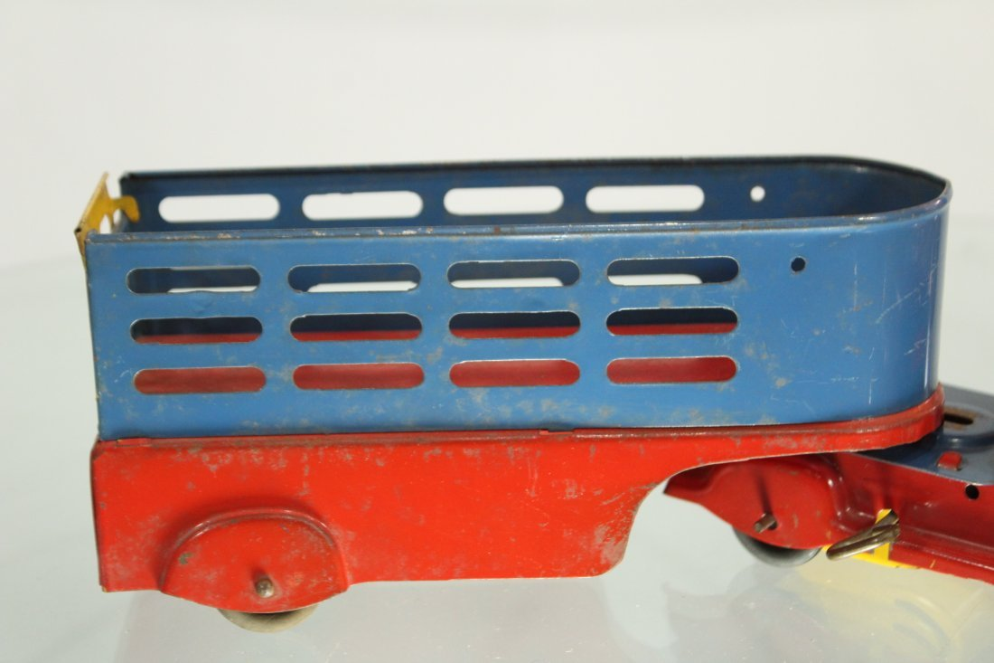 Antique PRESSED STEEL TRUCK STAKE BED TRAILER - 3