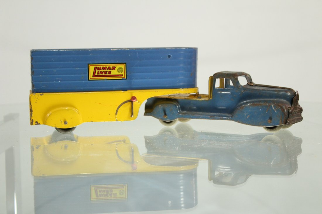 Antique PRESSED STEEL TRUCK LUMAR LINES TRAILER