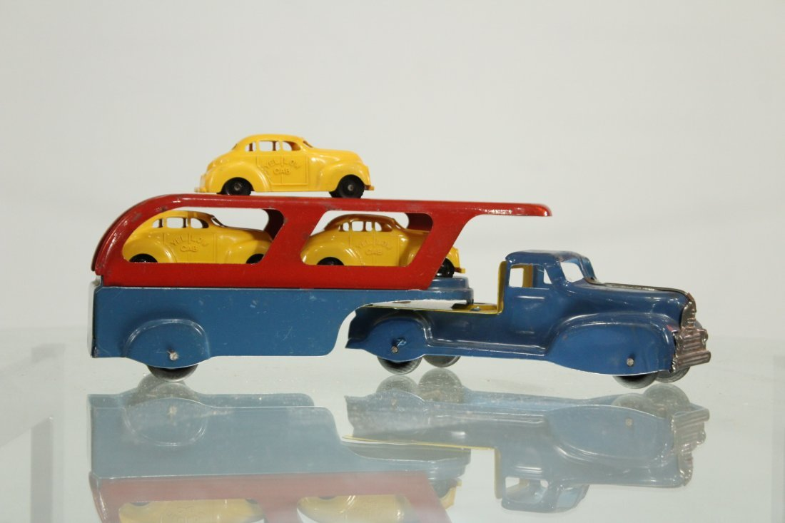 Antique PRESSED STEEL CAR CARRIER For YELLOW CAB TAXI