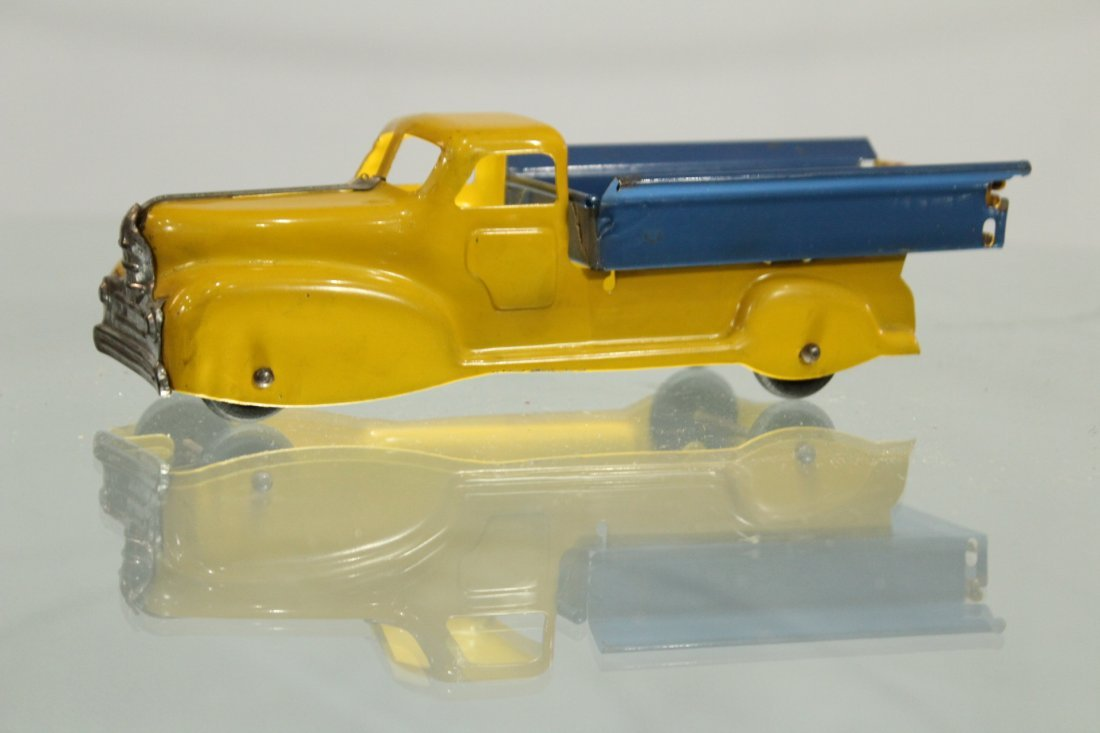 Antique PRESSED STEEL PICKUP TRUCK YELLOW AND BLUE