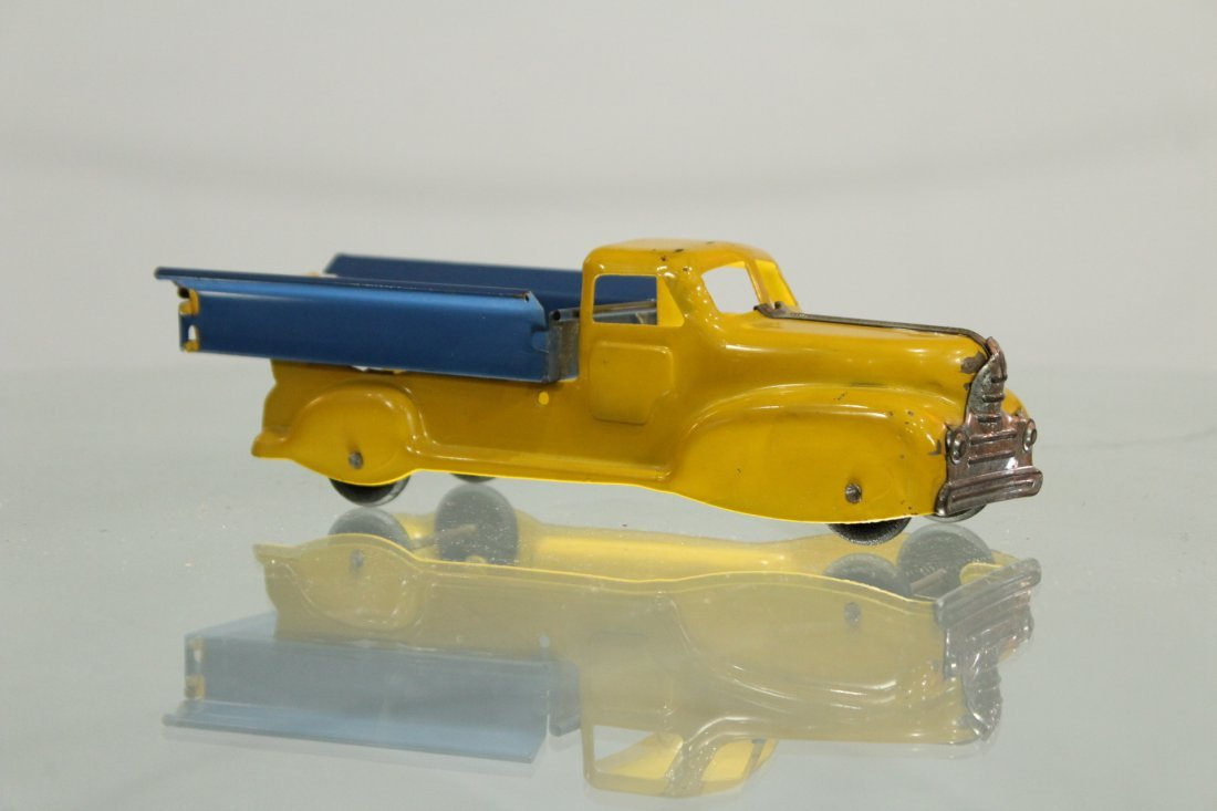 Antique PRESSED STEEL PICKUP TRUCK YELLOW AND BLUE - 2