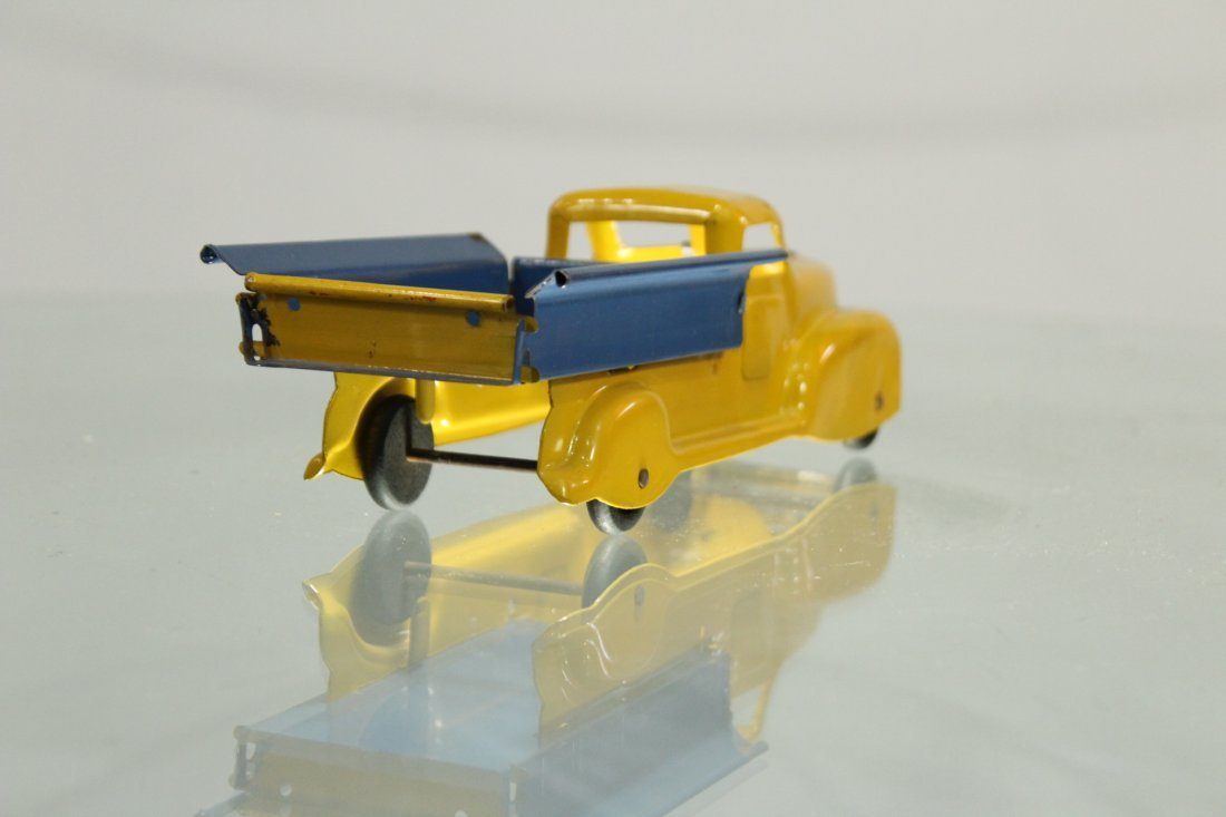 Antique PRESSED STEEL PICKUP TRUCK YELLOW AND BLUE - 3
