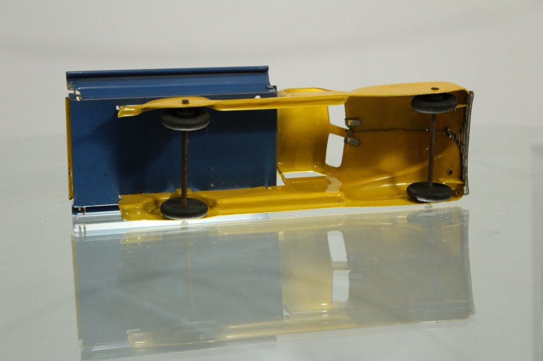 Antique PRESSED STEEL PICKUP TRUCK YELLOW AND BLUE - 4