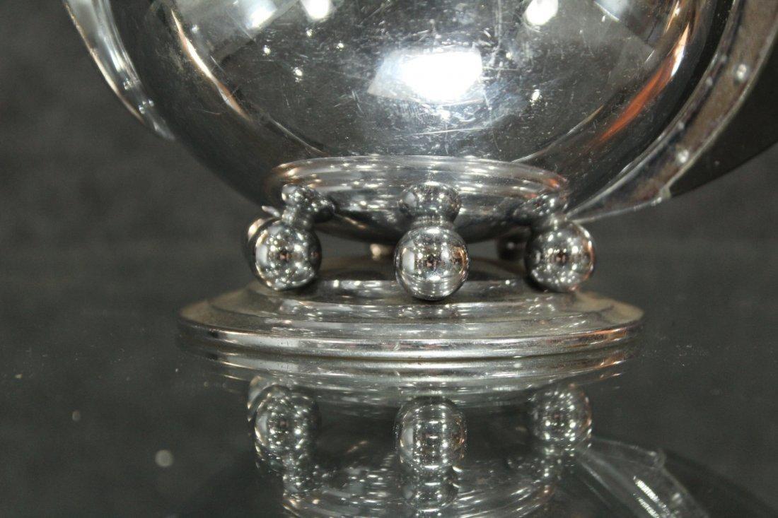 MANNING BOWMAN Silverplate ART DECO HIGH DESIGN TEA POT - 3