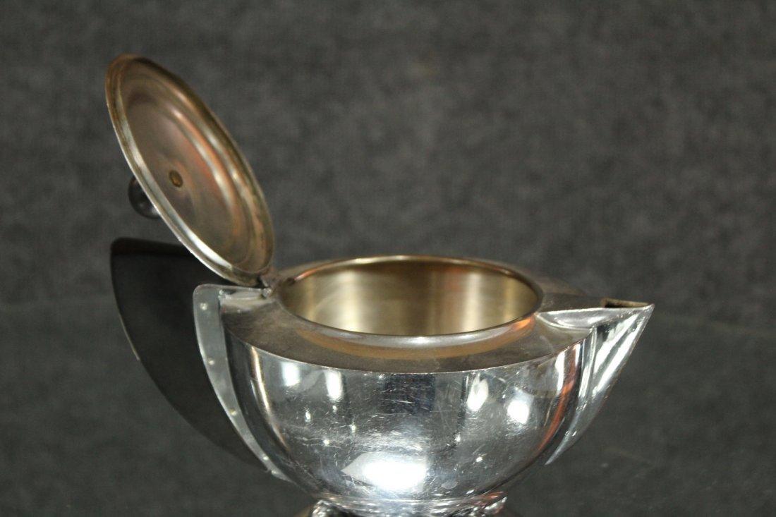 MANNING BOWMAN Silverplate ART DECO HIGH DESIGN TEA POT - 4