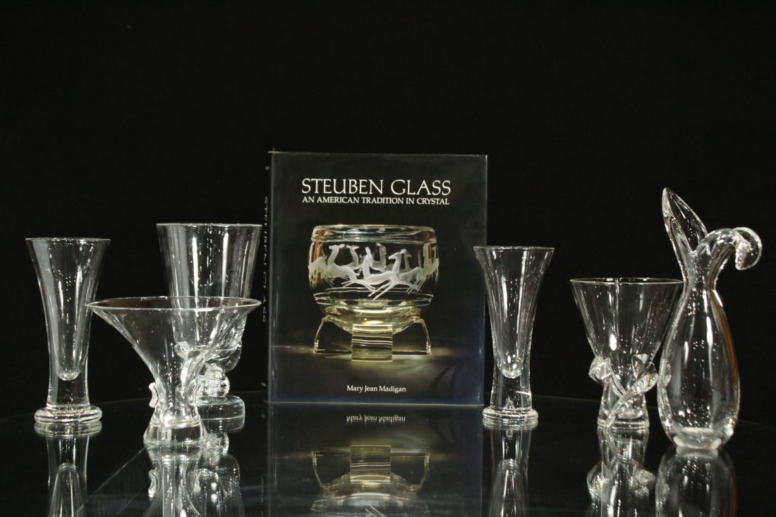 6 ASSORTED PIECES OF STEUBEN GLASS VASES w/ BOOK