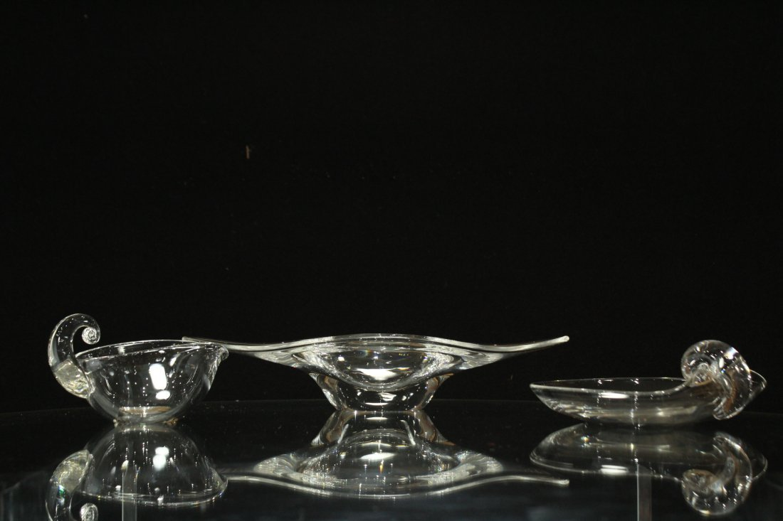 3 ASSORTED QUALITY STEUBEN GLASS BOWL, CREAMER, NAPPY