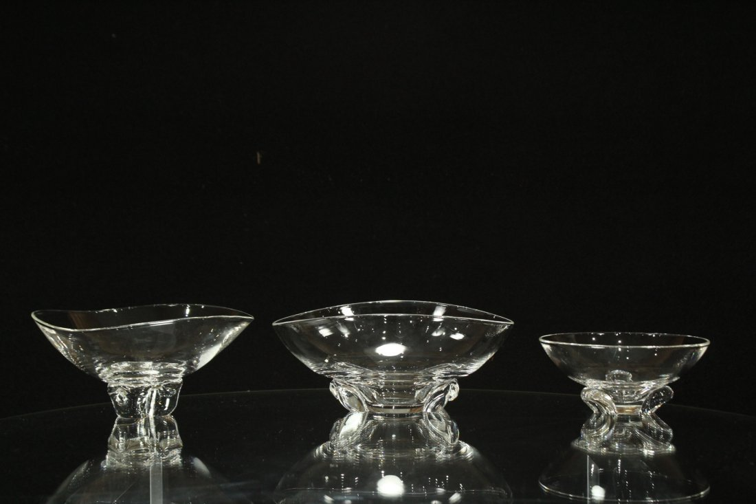 3 ASSORTED STEUBEN GLASS CANDY BOWLS