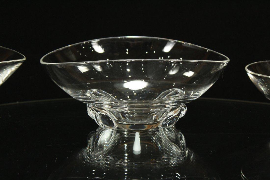 3 ASSORTED STEUBEN GLASS CANDY BOWLS - 4