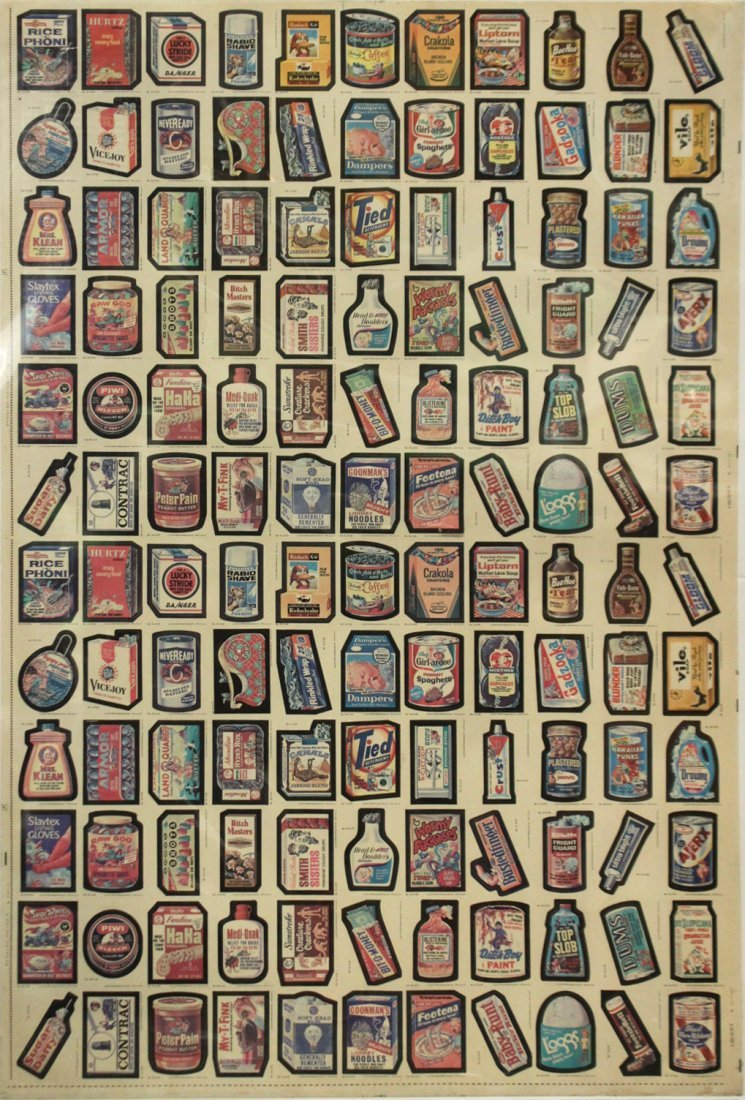 1979 TOPPS CHEWING GUM UN-CUT SHEET GARBAGE PAIL CARDS