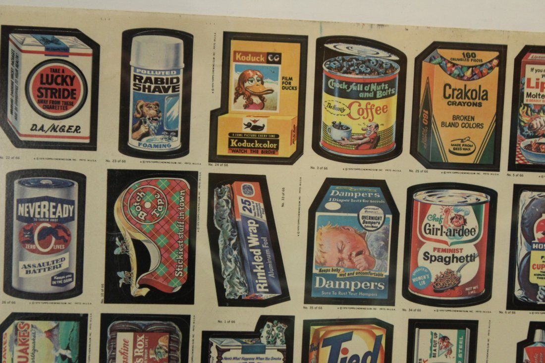 1979 TOPPS CHEWING GUM UN-CUT SHEET GARBAGE PAIL CARDS - 2