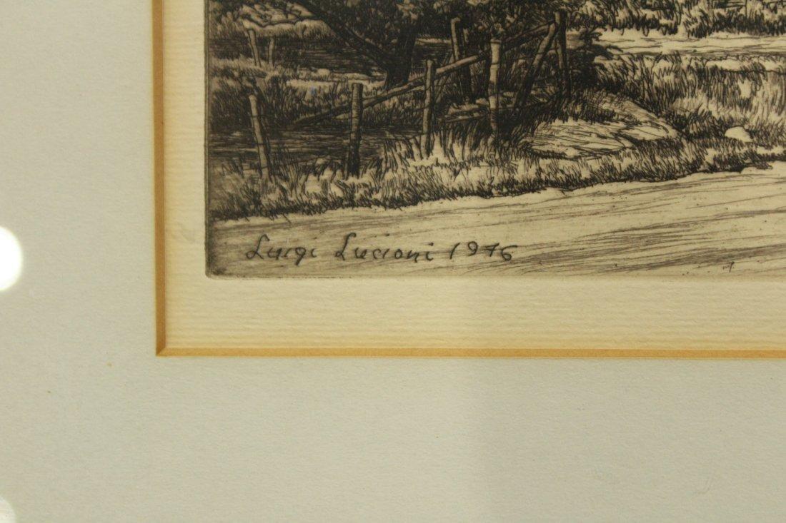 LUIGI LUCIONI - ROUTE 7 Signed Original Etching, Framed - 3