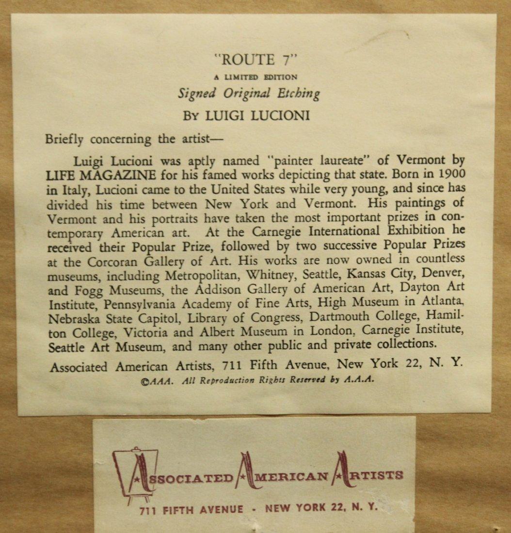 LUIGI LUCIONI - ROUTE 7 Signed Original Etching, Framed - 5