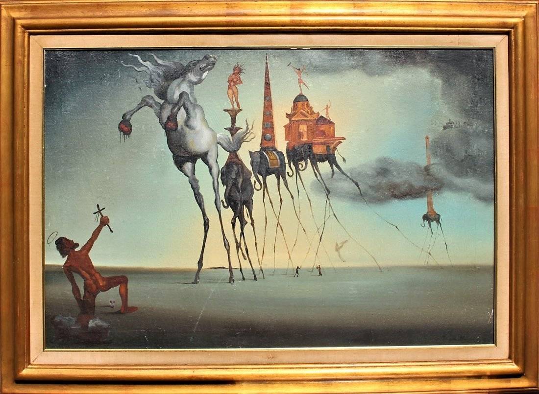 DAVID MURDON Mid Century SURREALIST OIL PAINTING
