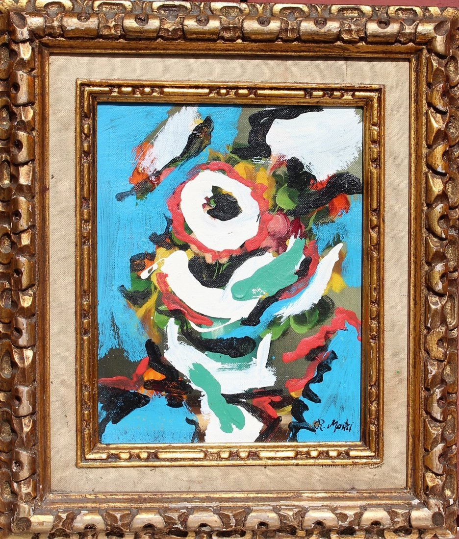R. MONTI Mid Century ABSTRACT OIL ON CANVAS, FRAMED