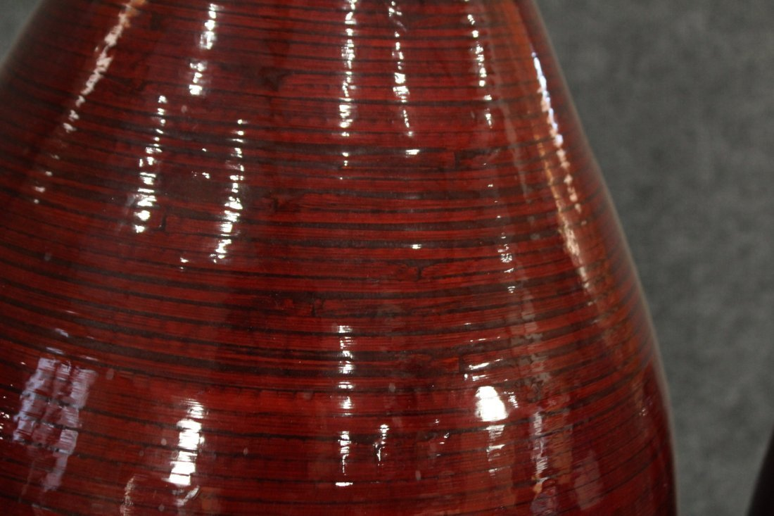 Mid-century Modern Bambo  red lacquered vases - 2