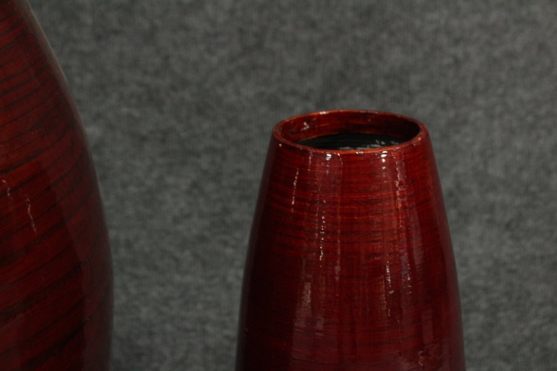 Mid-century Modern Bambo  red lacquered vases - 4