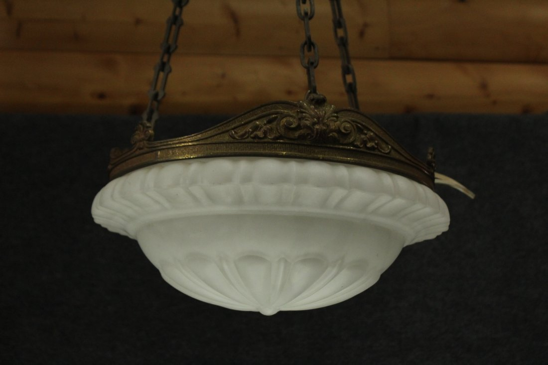 Circa 1920s  BRONZE AND GLASS HANGING CEILING FIXTURE