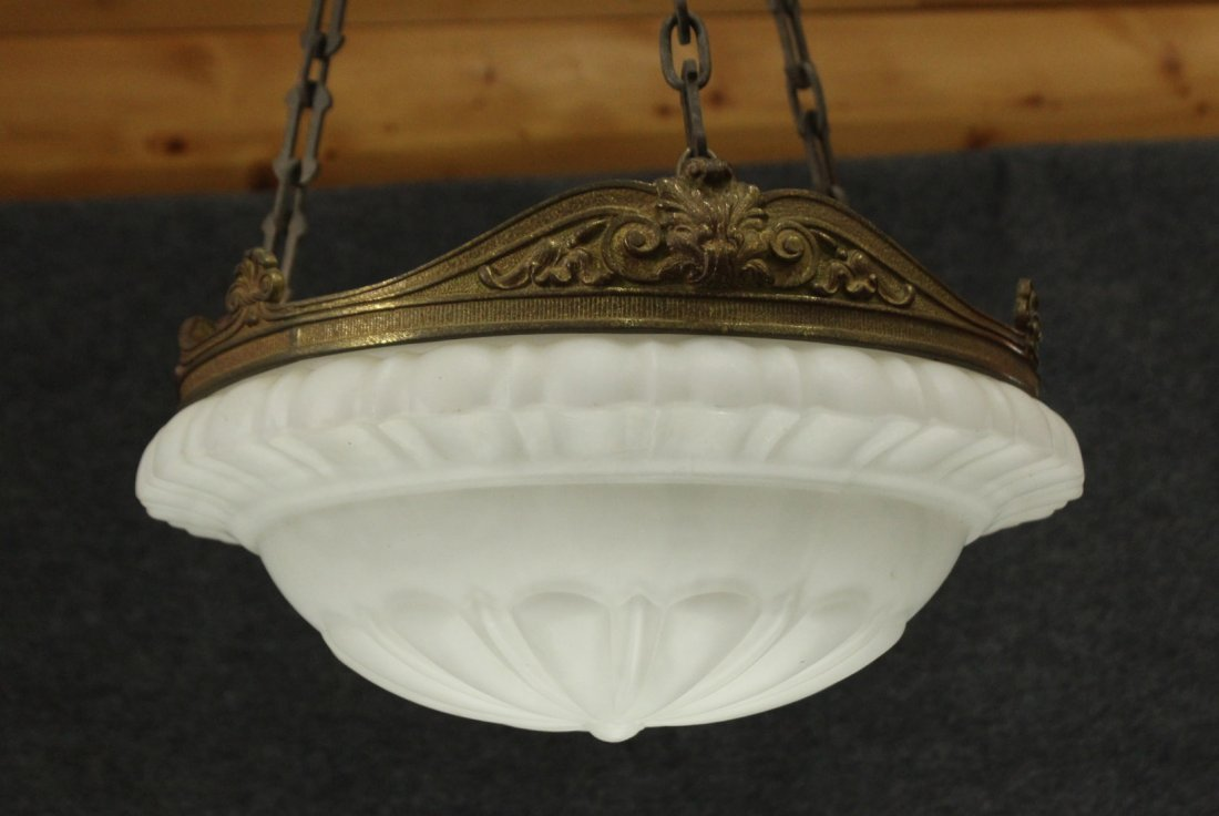 Circa 1920s  BRONZE AND GLASS HANGING CEILING FIXTURE - 2