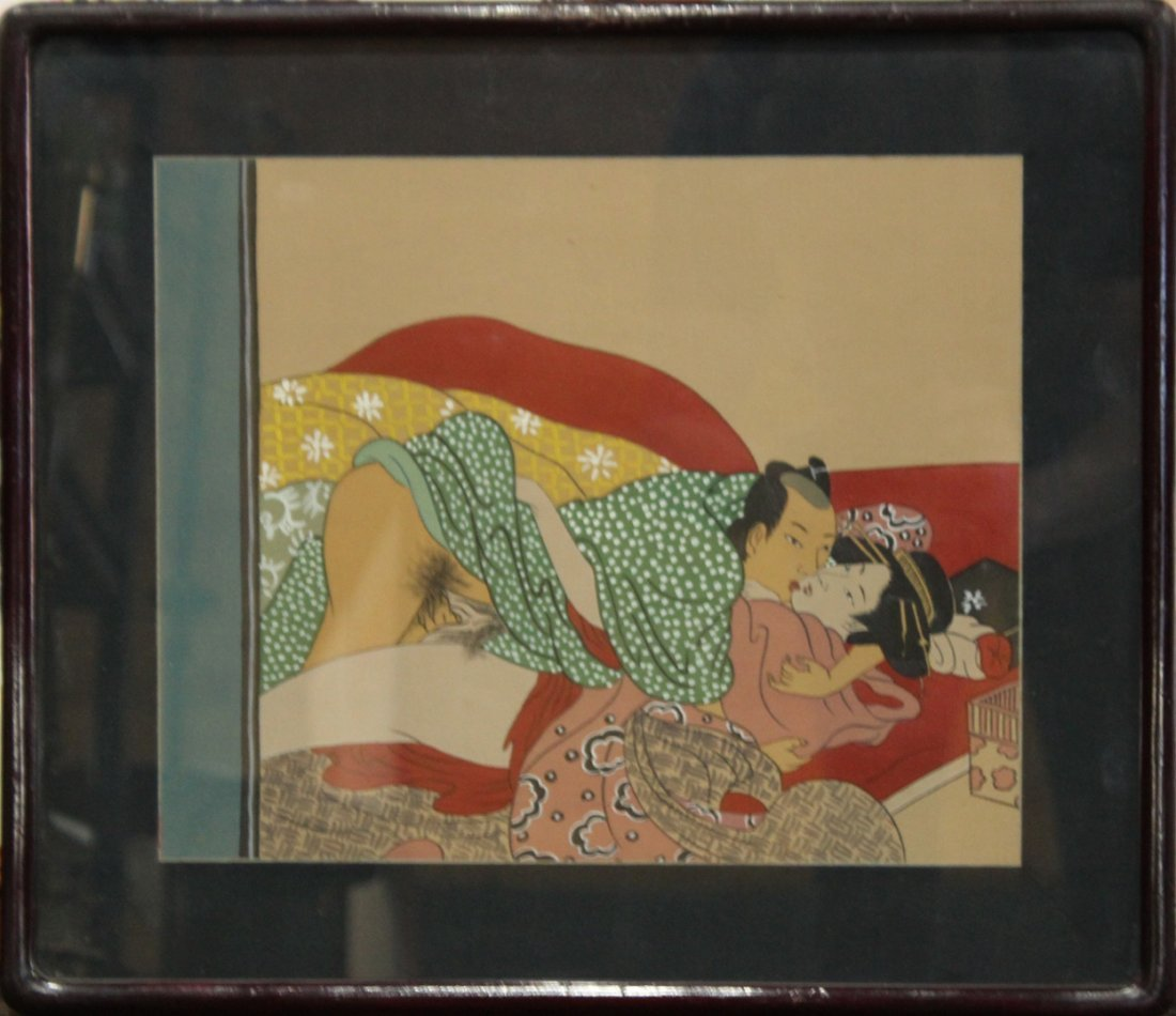 JAPANESE EROTIC PAINTING ON CLOTH, FRAMED