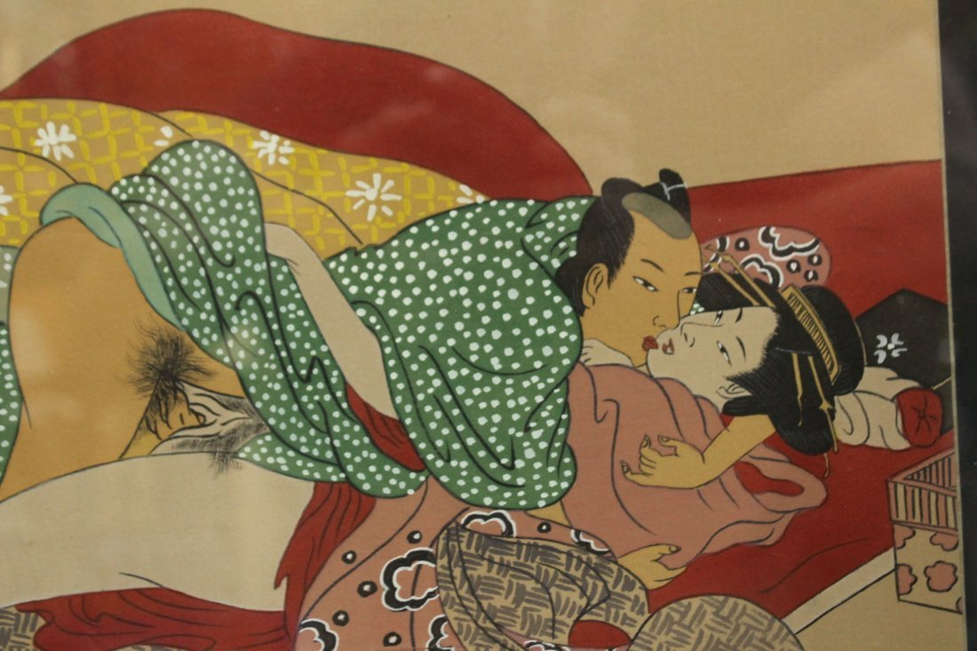 JAPANESE EROTIC PAINTING ON CLOTH, FRAMED - 2