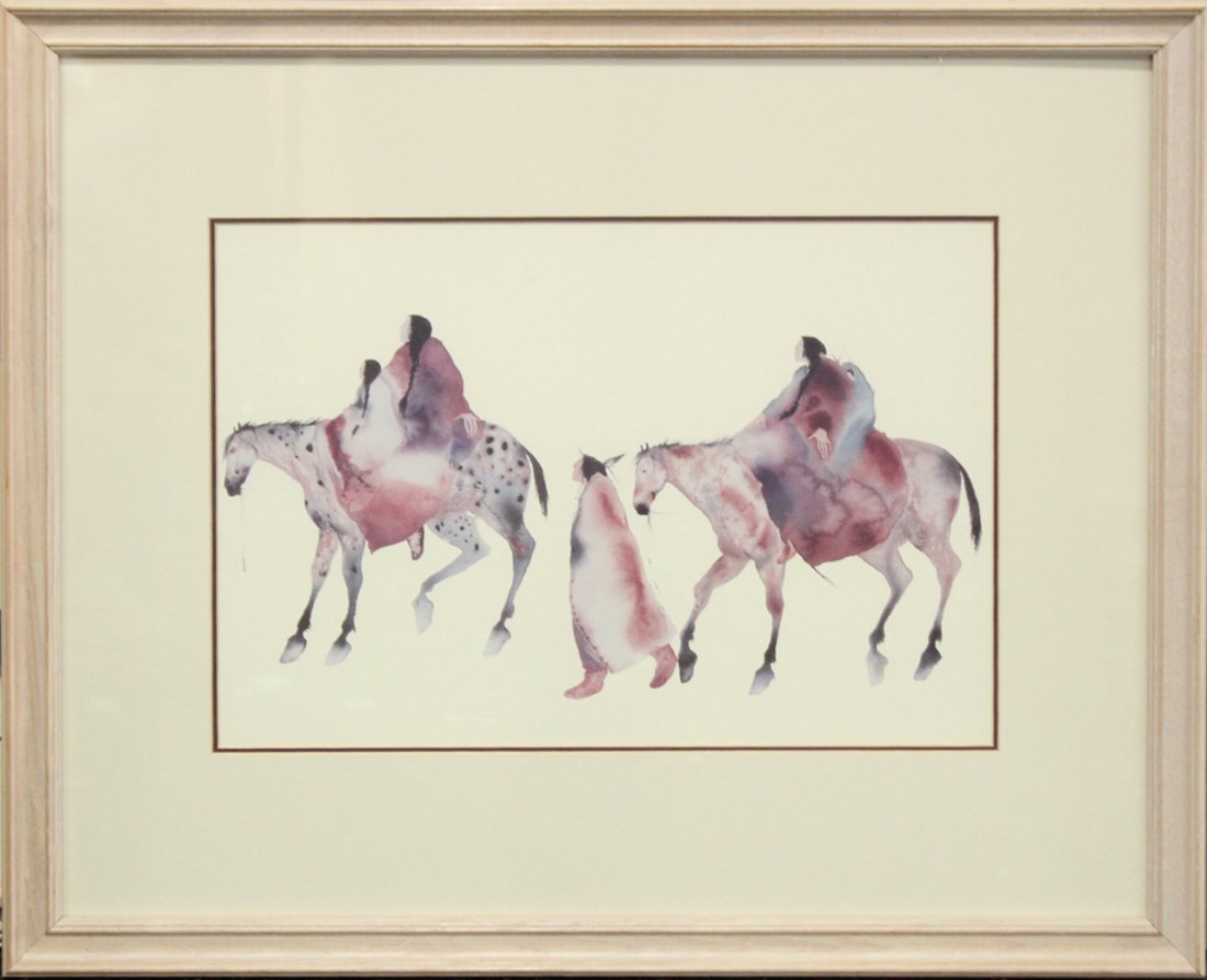 NATIVE AMERICAN WATERCOLOR INDIANS ON HORSES