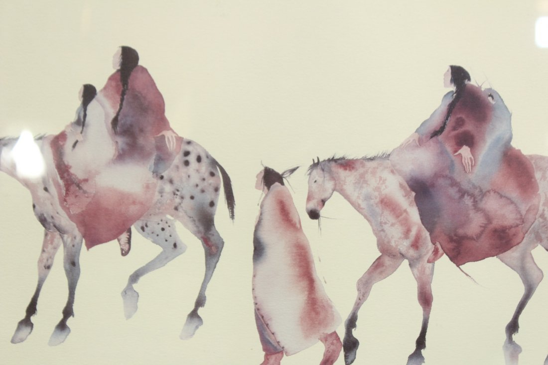NATIVE AMERICAN WATERCOLOR INDIANS ON HORSES - 2