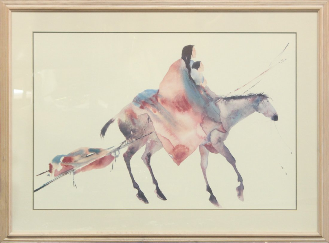 NATIVE AMERICAN WATERCOLOR INDIAN ON HORSE