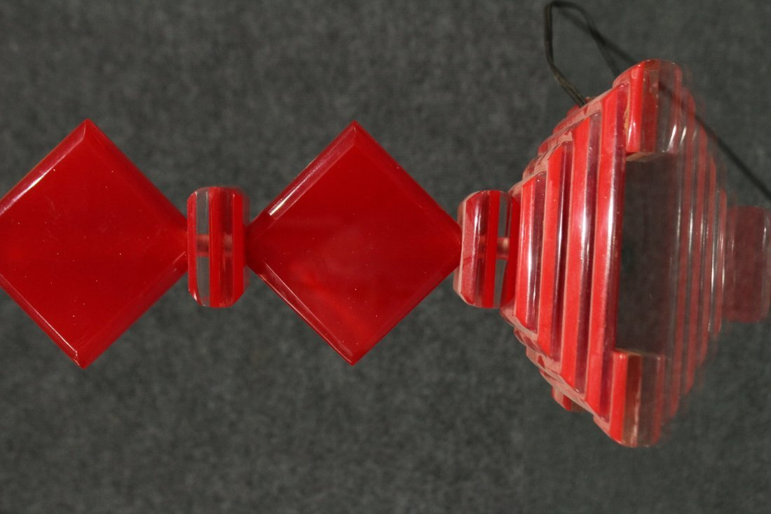 MID CENTURY MODERN RED LUCITE SKYSCRAPER LAMP - 2