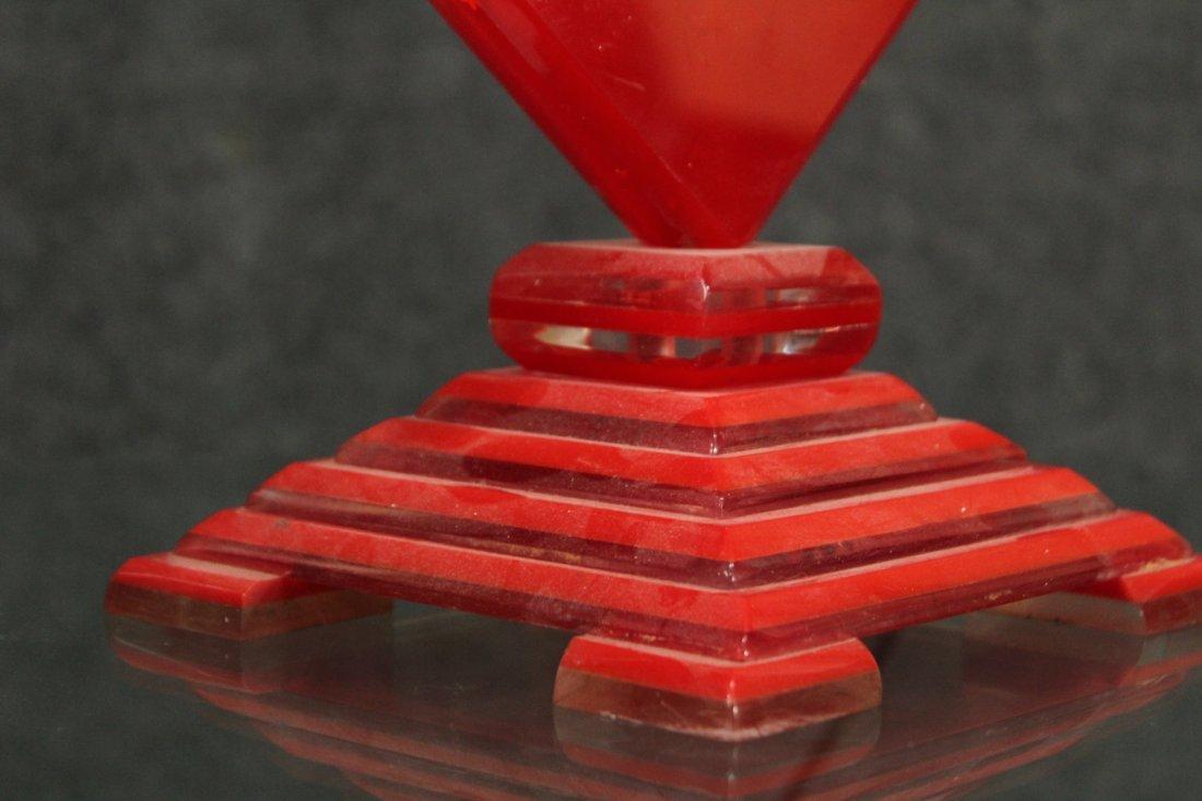 MID CENTURY MODERN RED LUCITE SKYSCRAPER LAMP - 4