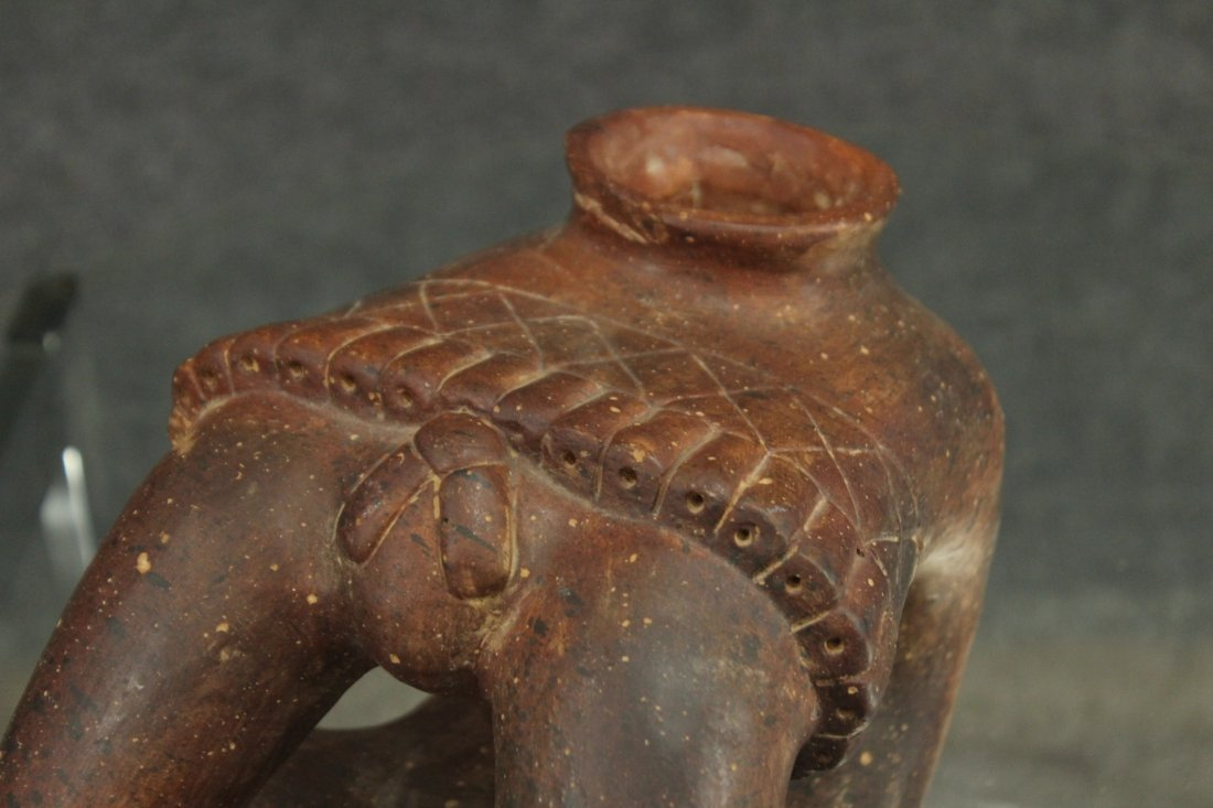 SOUTH AMERICAN REDWARE POTTERY FIGURE - 2