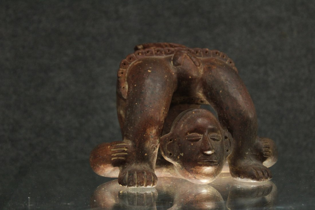 SOUTH AMERICAN REDWARE POTTERY FIGURE - 5