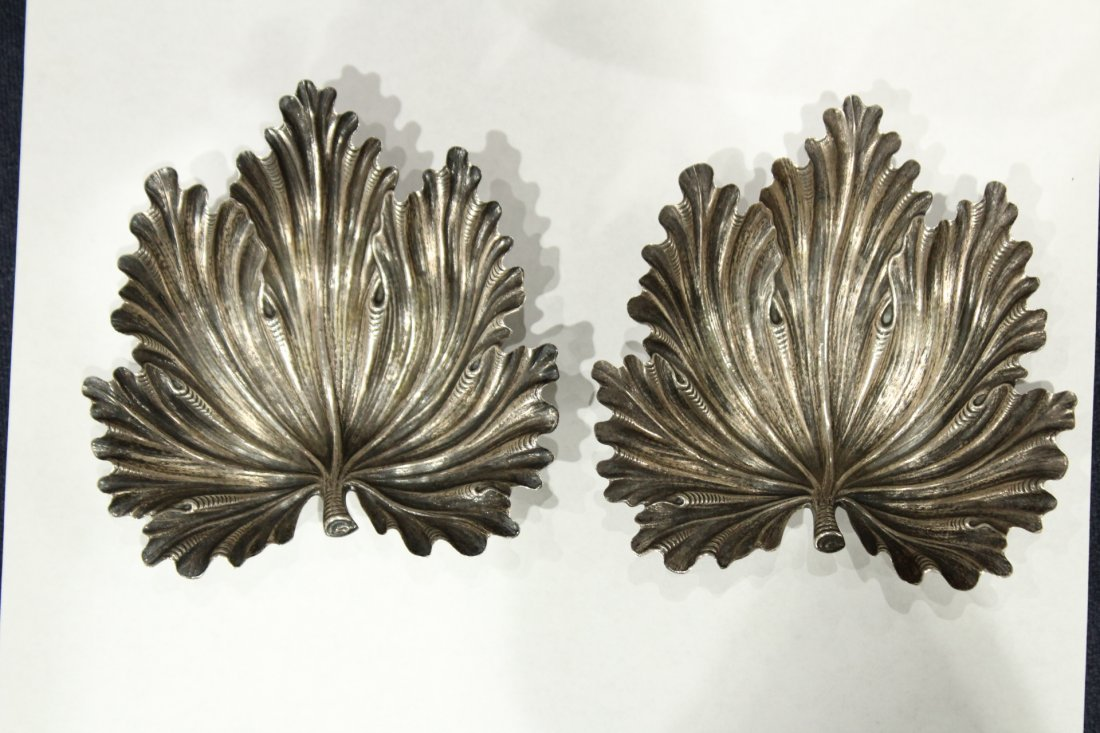 BUCCELLATI STERLING SILVER PAIR FIG LEAF DISHES - 2