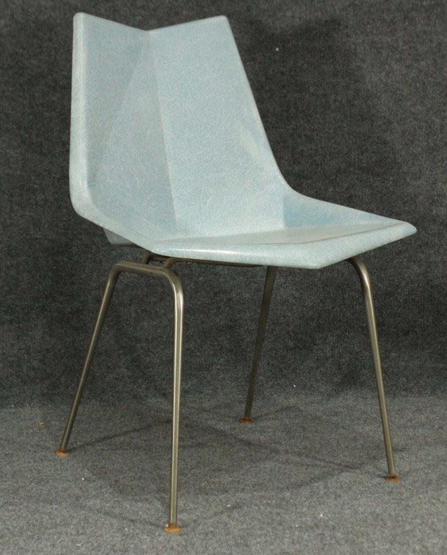 Paul McCobb Origami Blue Faceted Fiberglass Chair