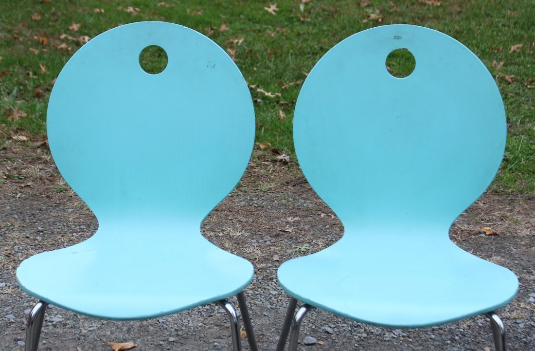 CALLIGARIS ITALY Pair TURQUOISE BENT PLY CHAIRS - 2