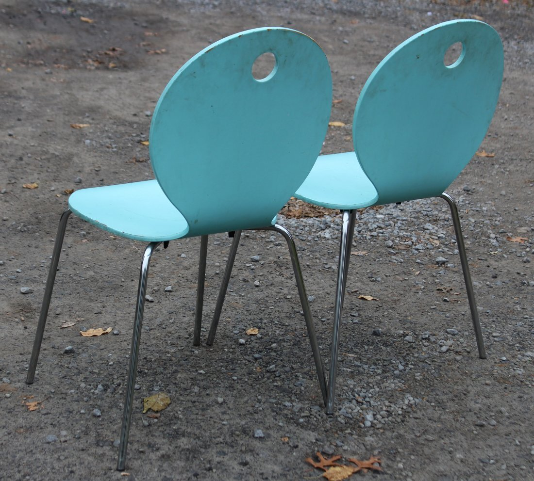 CALLIGARIS ITALY Pair TURQUOISE BENT PLY CHAIRS - 3