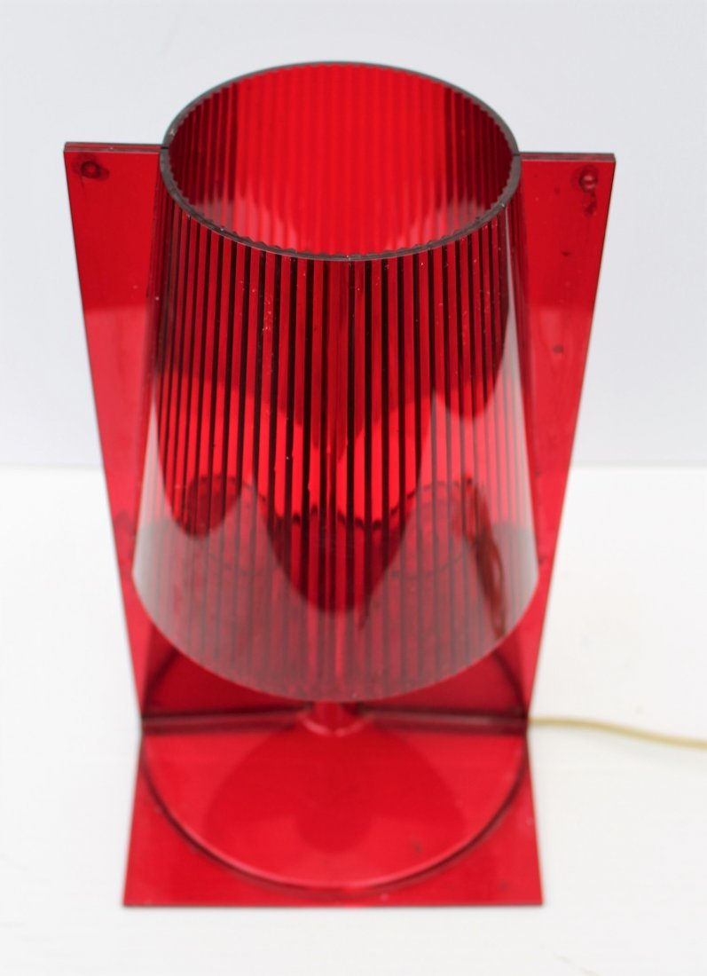 "A FERRUCCIO LAVIANI RED LUCITE KARTELL ""TAKE"" LAMP - 3"