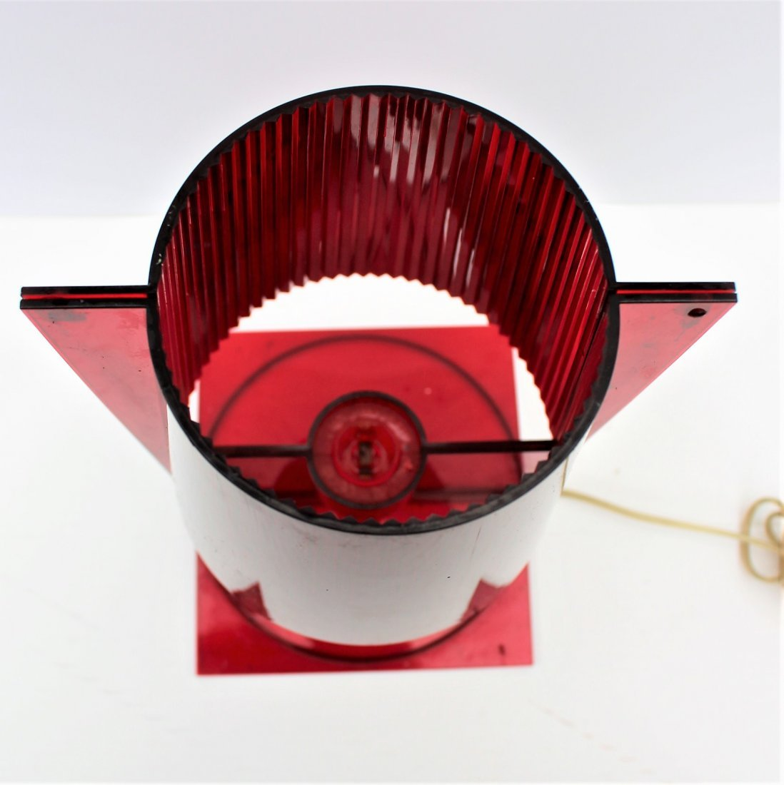 "A FERRUCCIO LAVIANI RED LUCITE KARTELL ""TAKE"" LAMP - 4"