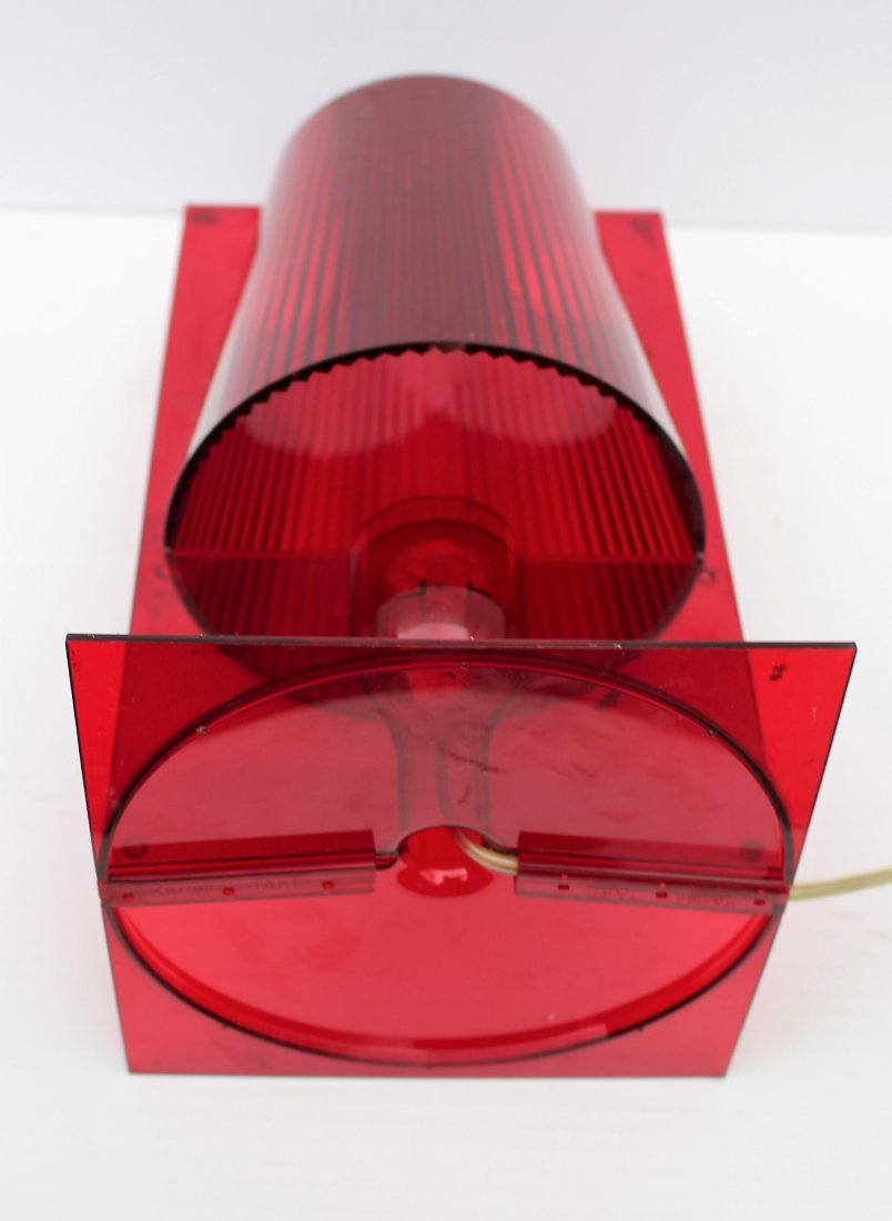 "A FERRUCCIO LAVIANI RED LUCITE KARTELL ""TAKE"" LAMP - 5"
