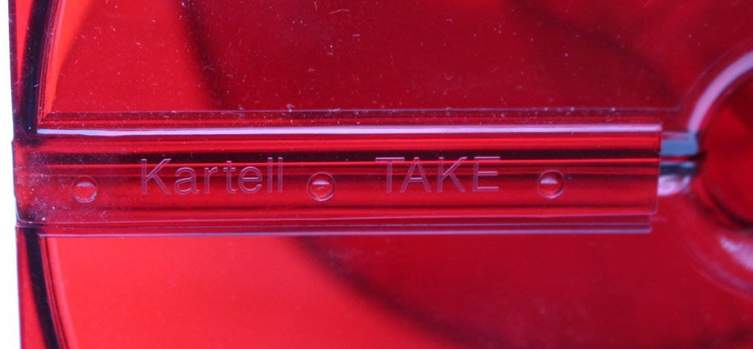 "A FERRUCCIO LAVIANI RED LUCITE KARTELL ""TAKE"" LAMP - 6"
