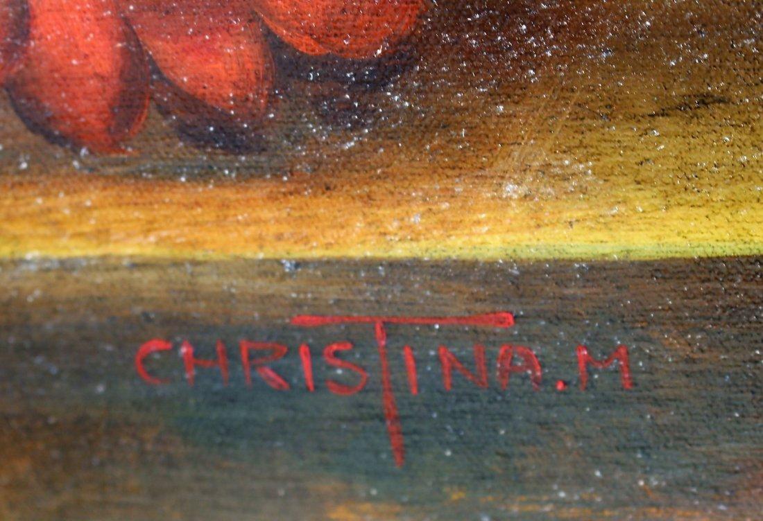 CHRISTINA M. 20th C. FLEMISH SCHOOL FLORAL STILL LIFE - 4