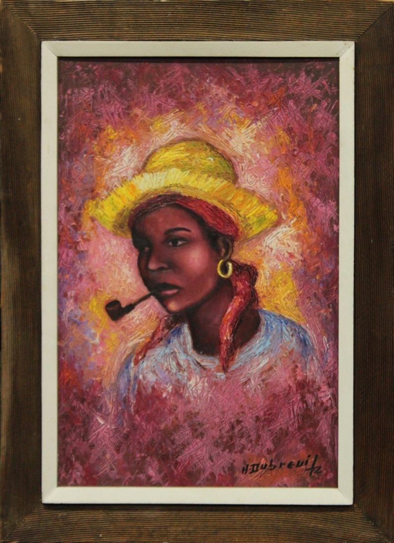 HENRY DUBREUIL, Haiti b. 1948, PORTRAIT YOUNG GIRL