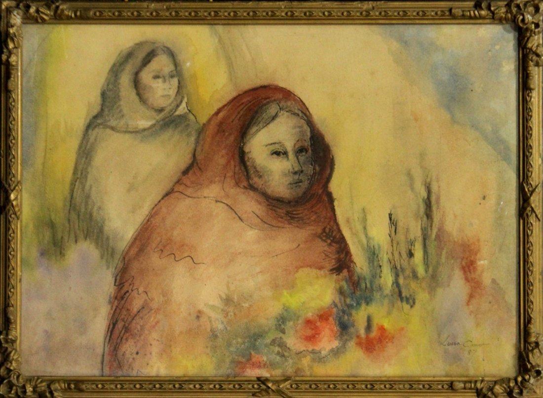 LOUISA CARSON, Watercolor, TWO WOMEN IN HOODED ATTIRE