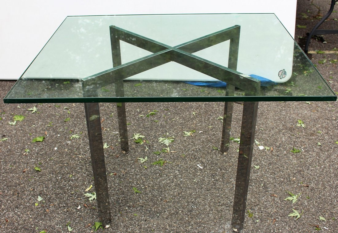 MILO BAUGHMAN CHROME FLATBAR CROSS BASE TABLE GLASS TOP