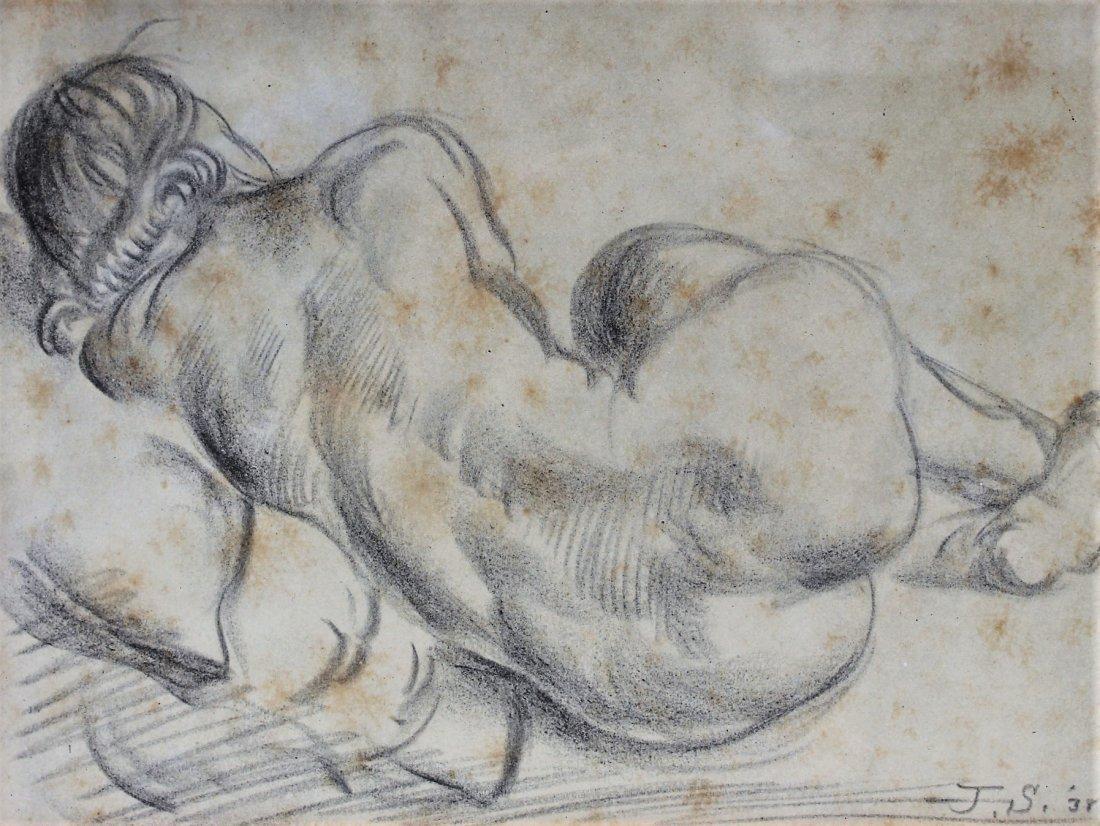 JOHN SLOAN 1871-1951 Pencil Drawing SLEEPING NUDE 1938