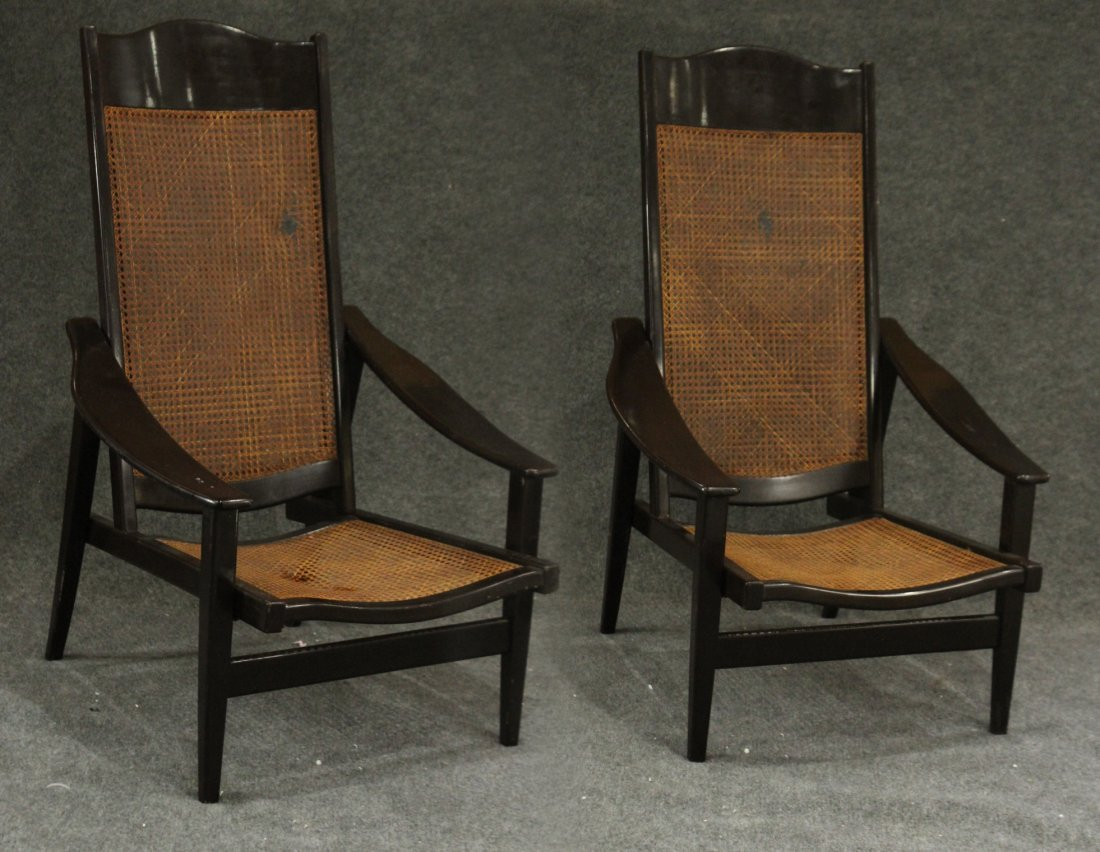 Mid-century Modern tall back lounge chairs