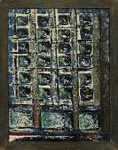 MidCentury Modern Abstract Squares Oil Board Unsigned