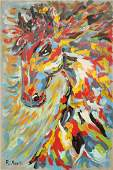 R, Monti, Mid Century Horse Head In Abstract Motion O/C