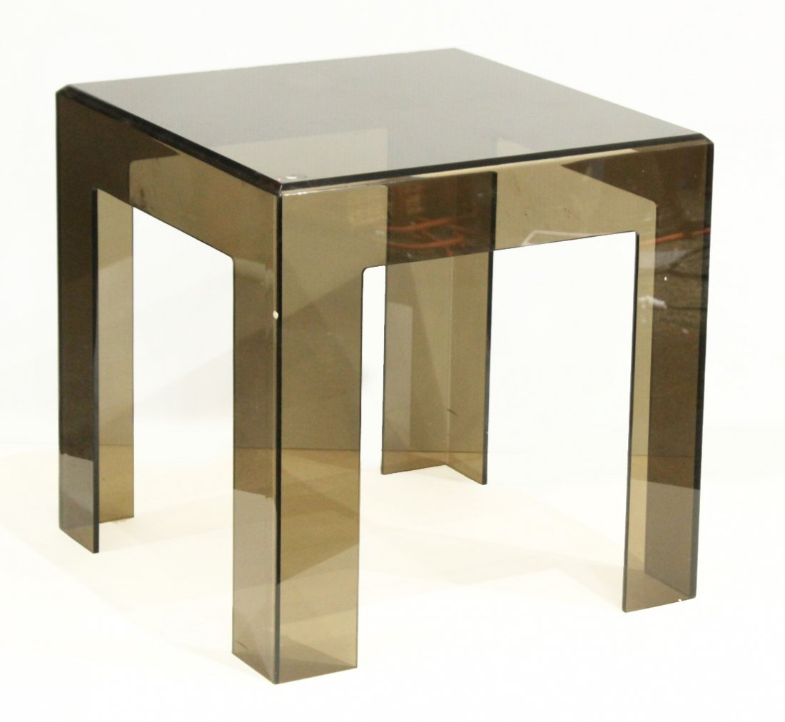 Mid-Century Modern Smoked Lucite Occasional Stand