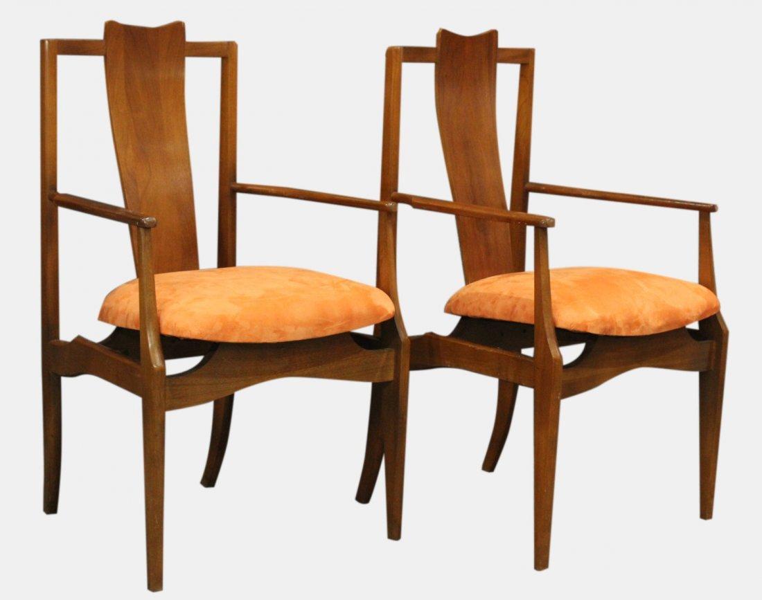 Pair Mid-Century Modern High Back Danish Arm Chairs